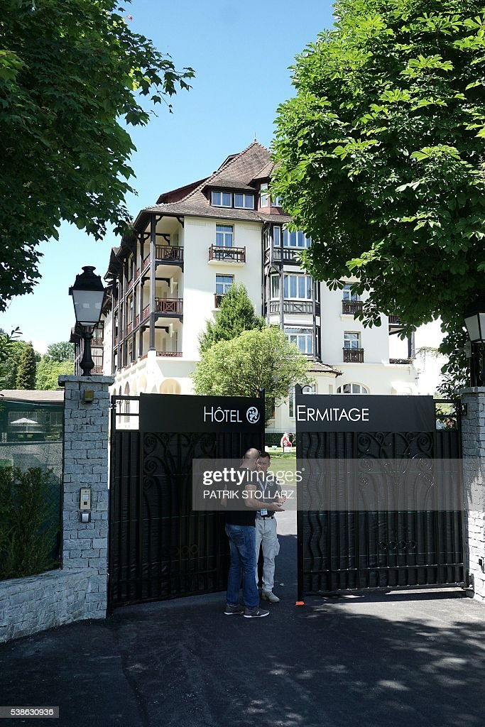 A picture shows the entrance of the Ermitage Hotel, the German team's accomodations, in Evian-les-Bains, central-eastern France, on June 7, 2016, three days ahead of the Euro 2016 football tournament. / AFP / PATRIK
