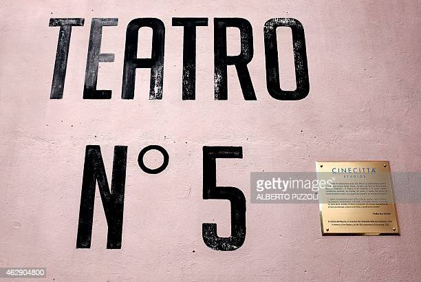 Picture shows the entrance of the studio N°5 dedicated to Italian director Federico Fellini on February 4, 2015 in Cinecitta, the famous Italian film...