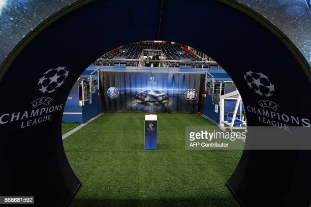 A picture shows the entrance to pitch from the locker rooms before the UEFA Champions League Group B football match between Paris SaintGermain and...