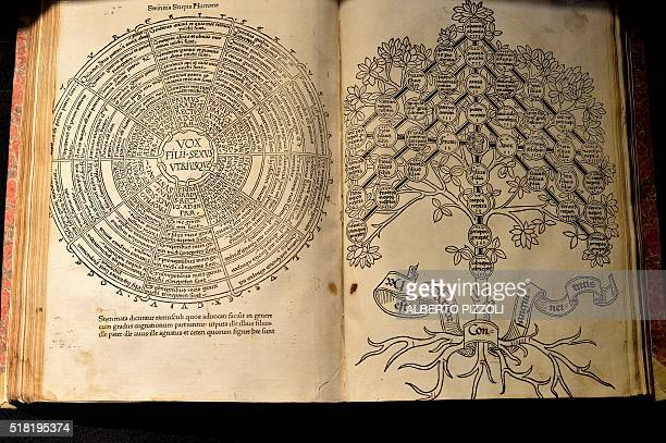 A picture shows The Etymologies of Isidore of Seville an encyclopedia on the origins of names at the Library of the Academy of the Lincei and...