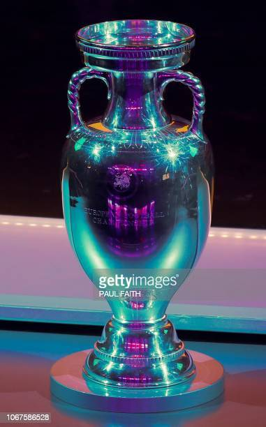 A picture shows the European Championship Trophy at the start of the UEFA Euro 2020 football competition qualifying draw in Dublin on December 2 2018