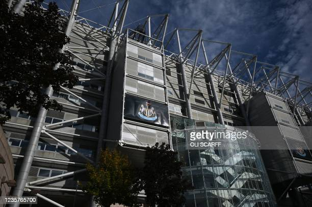 Picture shows the exterior of Newcastle United football club's stadium St James' Park in Newcastle upon Tyne in northeast England on October 8, 2021....