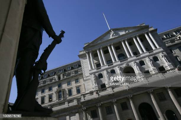 A picture shows the facade of the Bank of England in the City of London on August 2 2018 The Bank of England hiked interest rates on August 2 by a...