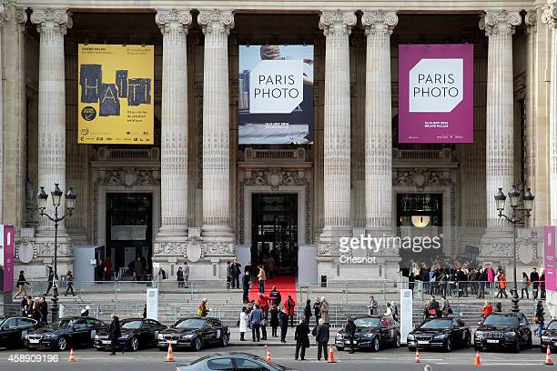 A picture shows the facade of the Grand Palais during the Paris Photo Fair held on November 12 2014 in Paris France The international fine art...