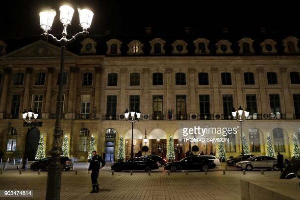 A picture shows the facade of the Ritz luxury hotel in Paris on January 10 after an armed robbery Armed robbers made off with millions of euros worth...