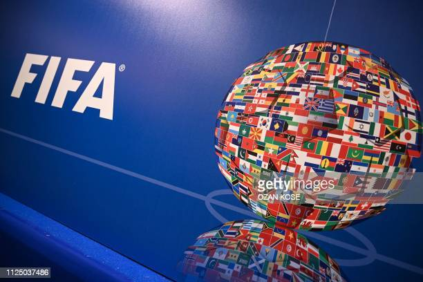 A picture shows the FIFA logo during a press conference held by the president of the football's governing body at the FIFA Executive Football Summit...