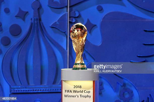 A picture shows the FIFA World Cup during the preliminary draw for the 2018 World Cup qualifiers at the Konstantin Palace in Saint Petersburg on July...