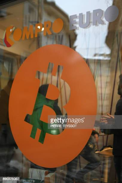 A picture shows the first Italian Bitcoin crypto currency shop 'Bitcoin Compro Euro' on December 11 2017 in Rovereto northern Italy Bitcoin surged...