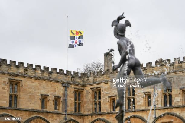 A picture shows the flag of Oxford University's Christ Church college at halfmast in Oxford northwest of London on March 15 2019 as a mark of respect...