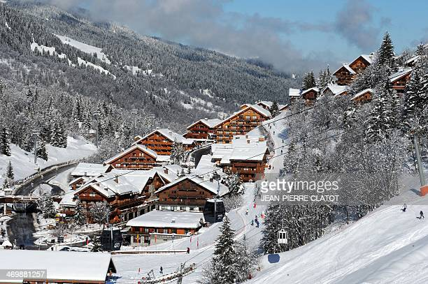 A picture shows the French ski resort of Meribel French Alps on February 17 on the first day of the French February holidays AFP PHOTO / JEANPIERRE...