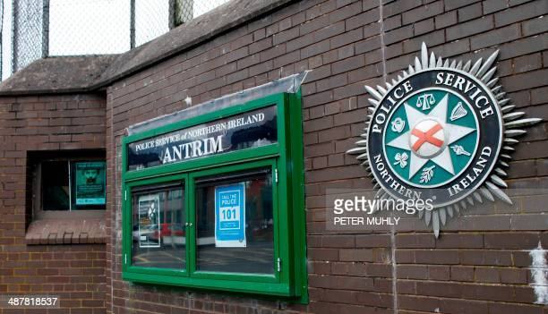 A picture shows the front of the Antrim police station in Antrim Northern Ireland on May 2 where Irish republican leader Gerry Adams head of the Sinn...
