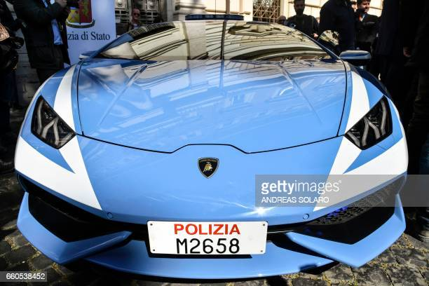 A picture shows the front of the new police's car Lamborghini 'Huracan' during a press conference at the Interior Ministry 'Viminale' in Rome on...