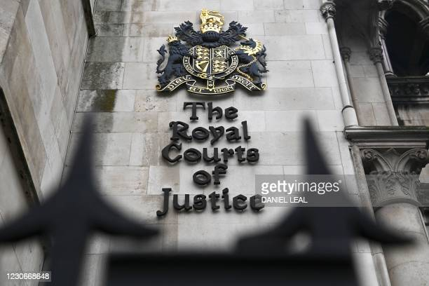 Picture shows the front of the Royal Courts of Justice, home to the High Court, in London on January 19, 2021. - Meghan Markle's high-profile lawsuit...