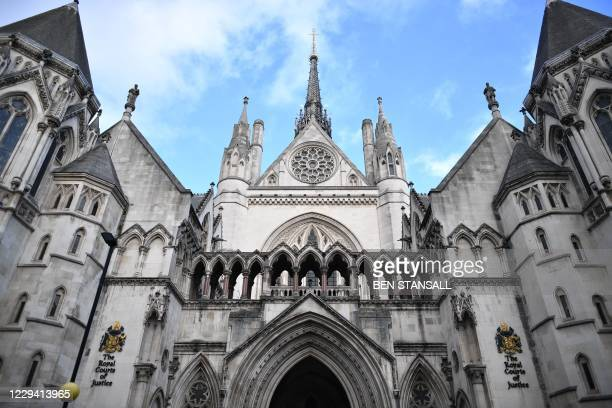 Picture shows the front of the Royal Courts of Justice where the High Court is located in London on November 2, 2020. - Hollywood star Johnny Depp on...