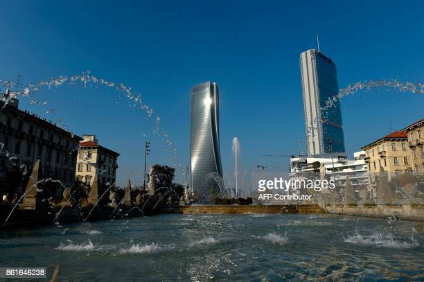 A picture shows the Generali tower also called Hadid tower designed by Zaha Hadid studio and the Allianz tower designed by Japanese Arata Isozaki and...