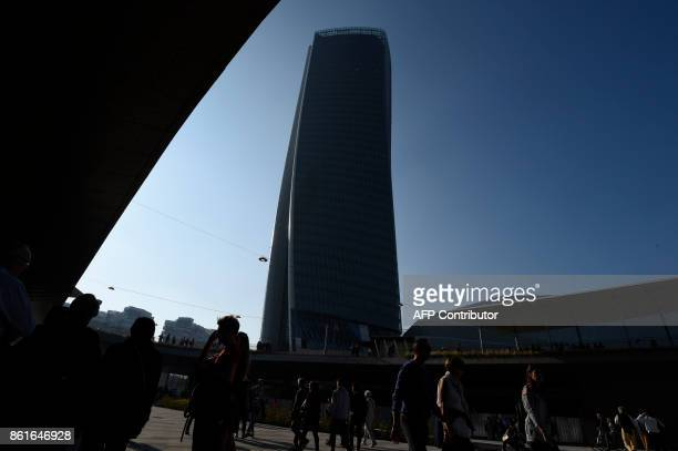 A picture shows the Generali tower also called Hadid tower designed by Zaha Hadid studio in the Citylife neighborghood western Milan on October 15...