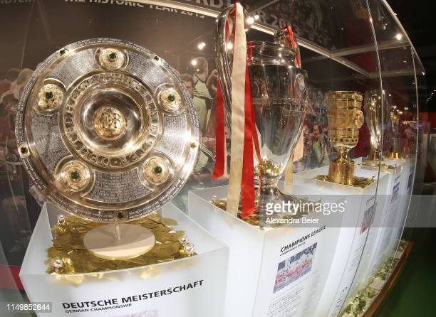 Picture shows the German Championship trophy, Champions League trophy and German Cup trophy the team of FC Bayern Muenchen won in the 2013 season at...