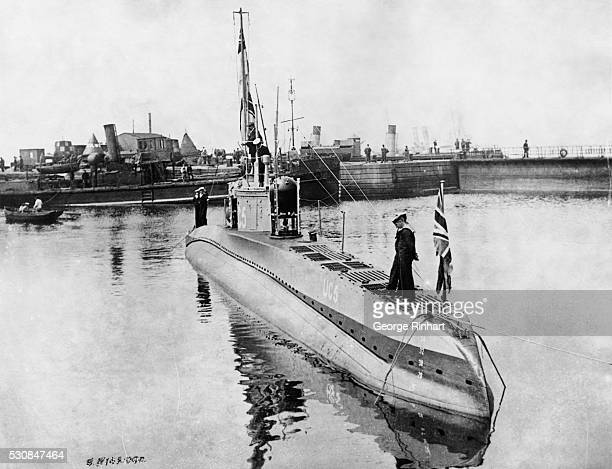 Picture shows the German submarine UC5 lying in the Thames River off Temple Pier in London
