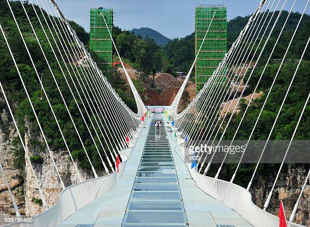 Picture shows the glassbottomed bridge across the Zhangjiajie Grand Canyon on June 12 2016 in Zhangjiajie Hunan Province of China World's longest and...