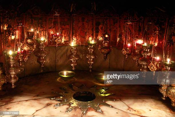 A picture shows the Grotto where Christians believe the Virgin Mary gave birth to Jesus Christ in the Church of the Nativity in the West Bank...