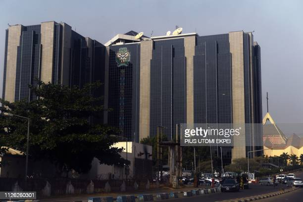 A picture shows the headquarters of the Nigerian Central Bank where electoral material is kept by Independent National Electoral Commission as the...