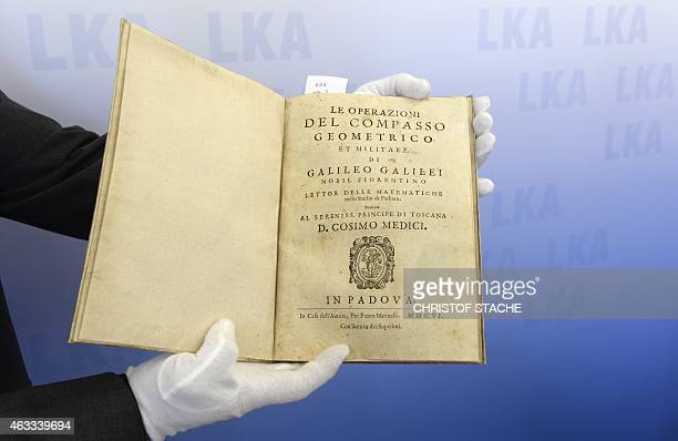 Picture shows the historical book Le operazioni del compasso geometrico from Galileo Galilei from1606 during a press conference in Munich southern...