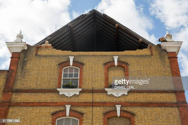A picture shows the hole in the roof support in The Duchess public house after Storm Katie's high winds brought it down in London on March 28 2016 /...