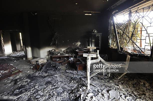 A picture shows the interior of the burnt US consulate building in the eastern Libyan city of Benghazi on September 13 2012 following an attack on...