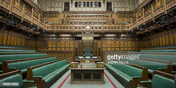 A picture shows the interior of The Commons Chamber at the Houses of Parliament in central London on November 12 2015 AFP PHOTO / POOL / JUSTIN TALLIS