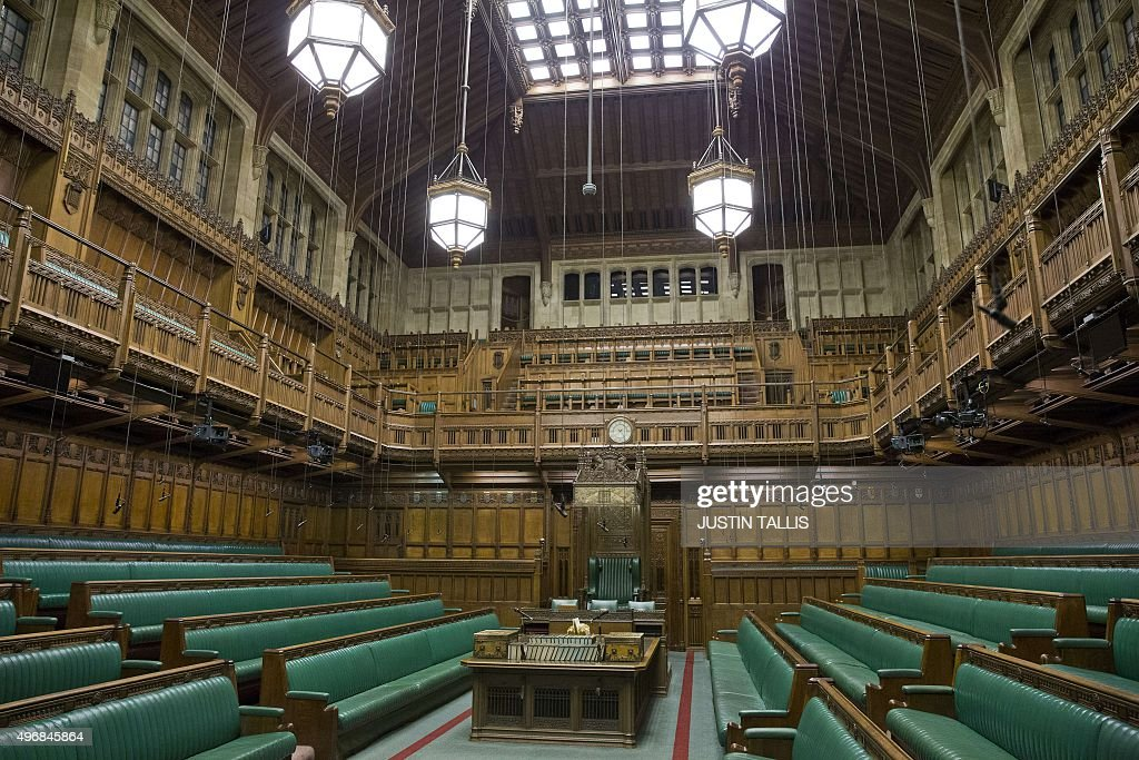 A Picture Shows The Interior Of The Commons Chamber At The Houses Of  Parliament In Central