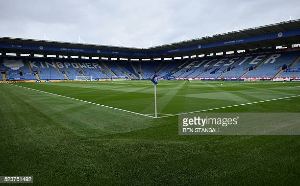 A picture shows the interior of the King Power Stadium in Leicester central England on April 24 2016 ahead of the English Premier League football...