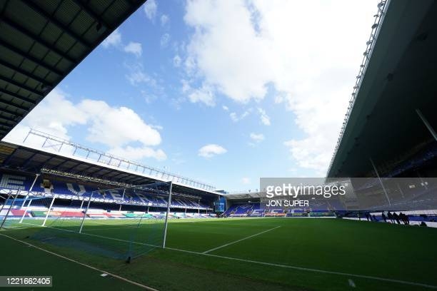 Picture shows the interior of the stadium ahead of the English Premier League football match between Everton and Liverpool at Goodison Park in...