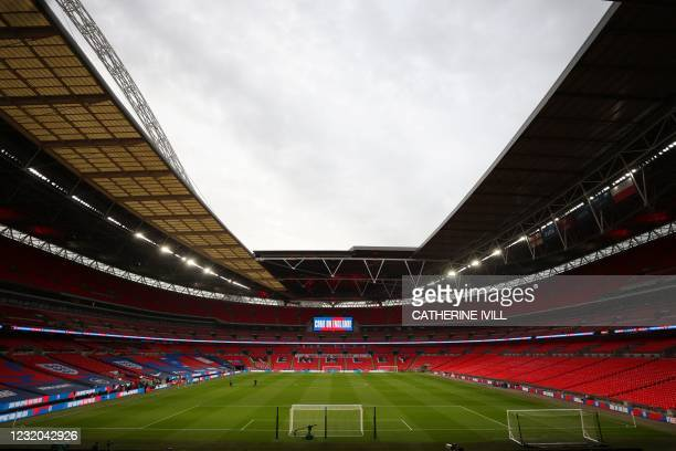 Picture shows the interior of Wembley Stadium in London on March 31, 2021 ahead of the FIFA World Cup Qatar 2022 Group I qualification football match...