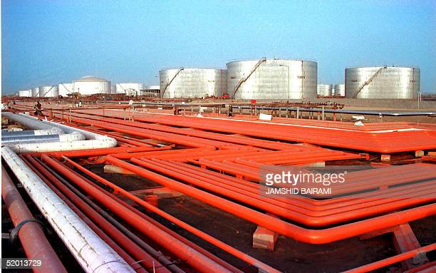 Picture shows the Iranian two billion dollar oil refinery in the main industrial Gulf port of Bandar-Abbas which was inaugurated 26 July. With a...