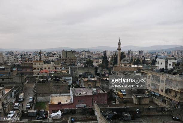 A picture shows the Kurdishmajority town of Afrin in northern Syria on January 23 as Turkish troops and their Syrian rebel allies pressed an assault...