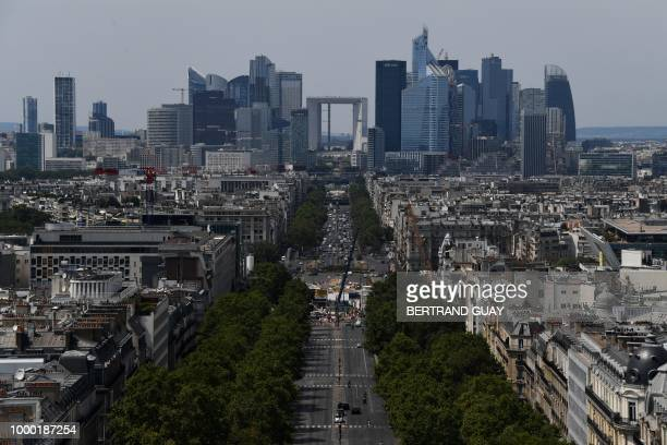 A picture shows the La Defense business district and the ChampsElysees avenue in Paris on July 16 2018