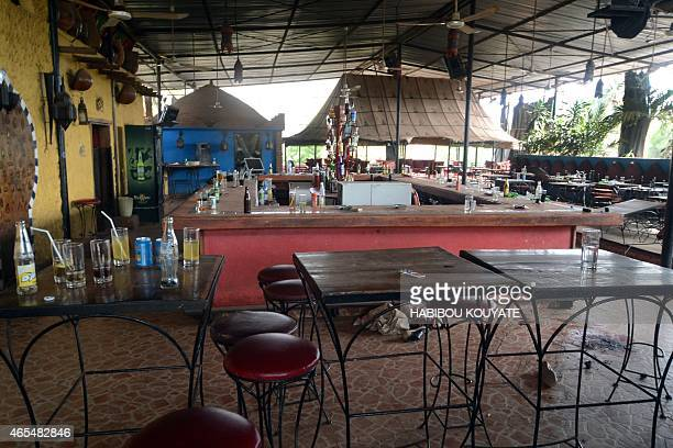 A picture shows the La Terrasse bar restaurant that was attacked in Bamako on March 7 2015 Five people including two Europeans and a Malian police...