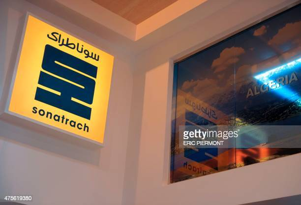 A picture shows the logo of Algerian state energy giant Sonatrach during the World Gas Conference exhibition in Paris on June 2 2015 AFP PHOTO / ERIC...
