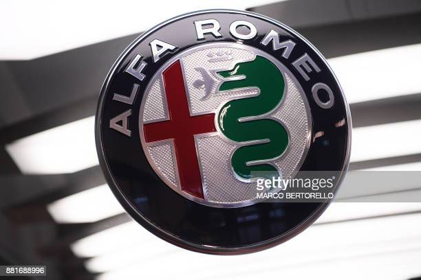 Picture shows the logo of car maker Alfa Romeo on November 29, 2017 at the Alfa Romeo Historical Museum in Arese, near Milan. Alfa Romeo are...