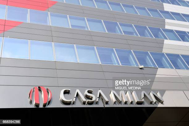 A picture shows the logo of 'Casa Milan' the AC Milan's headquarters hosting a shop and a museum dedicated to the Serie A football club on April 14...