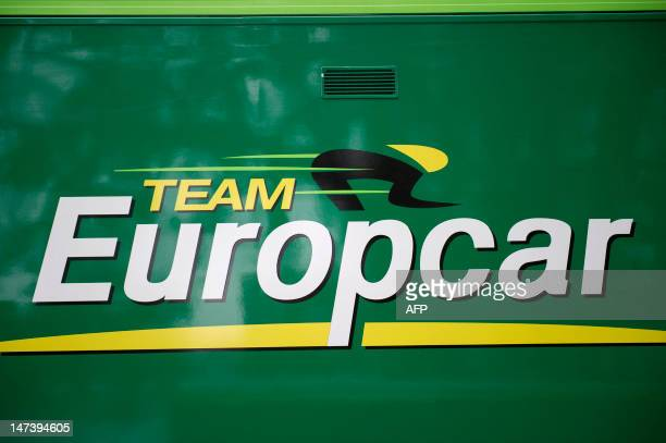 A picture shows the logo of French Europcar cycling team sticked on the team bus prior to the start of a training session on June 29 2012 around...
