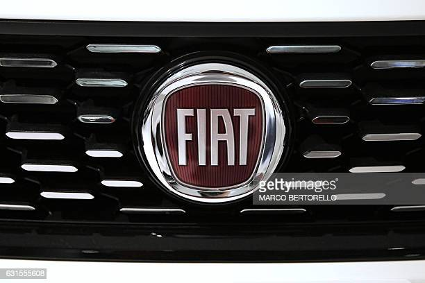 A picture shows the logo of Italian auto maker Fiat in a cars dealer on January 12 2017 in Saluzzo near Turin The United States on January 12 2017...