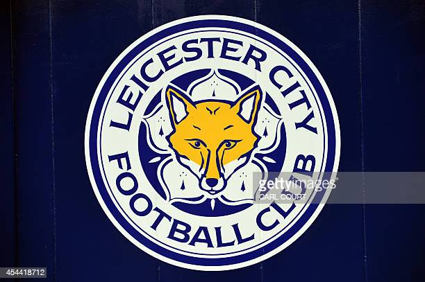 A picture shows the logo of Leicester City Football Club displayed on their King Power Stadium in Leicester central England on August 31 2014 USE No...