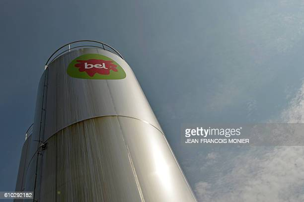 A picture shows the logo of the Bel Group outside a cheese factory in Evron northwestern France on September 22 2016 The Bel Group which is behind...