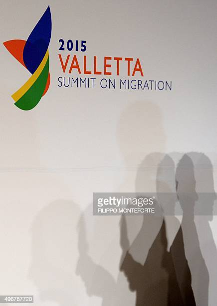Picture shows the logo of the European Union - Africa Summit on Migration at the Meditterranean Conference Center, on November 12, 2015 in La...