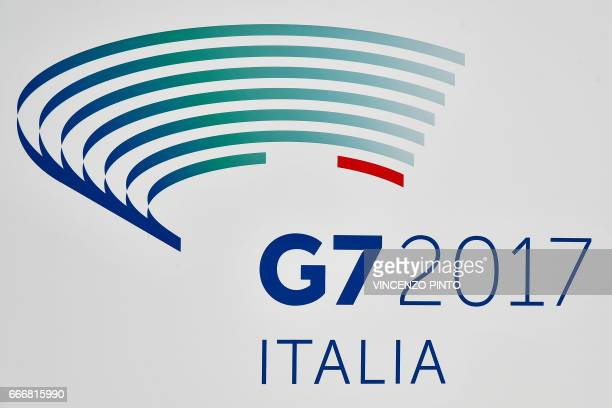 A picture shows the logo of the Group of Seven meeting in Italy 'G7 2017' on April 10 2017 in Lucca Tuscany during the G7 of Foreign Affairs...