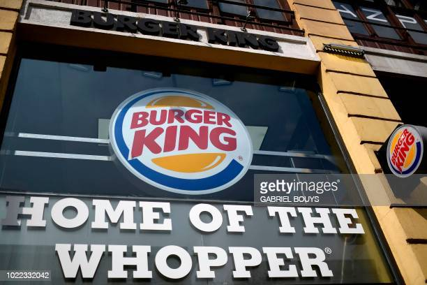 A picture shows the logo of US fast food chain Burger King in Madrid on August 23 2018