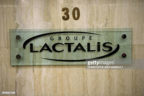 A picture shows the logo og French dairy group Lactalis on January 11 in Paris France said on January 11 there has been a 'major dysfunction' in a...