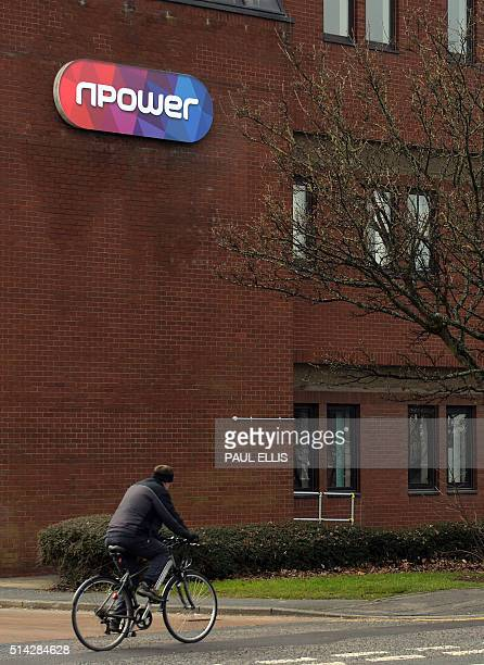 A picture shows the logo on the front of an office of British energy supplier npower in Hull northeast England on March 8 2016 British energy...