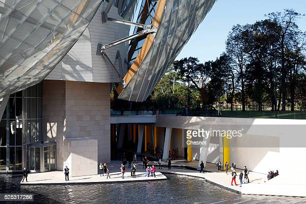 A picture shows the Louis Vuitton Foundation building in the Bois de Boulogne in Paris France on 27 October 2014 The new building designed by...